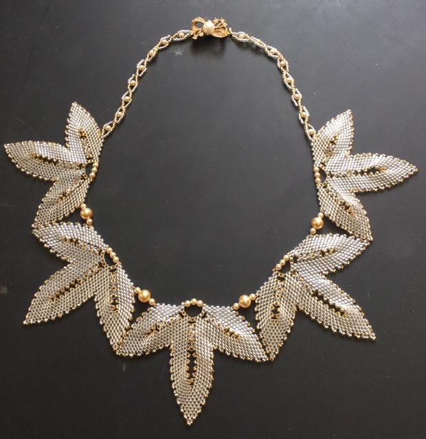 Beaded Frozen Leaf Necklace : Julia Atkins