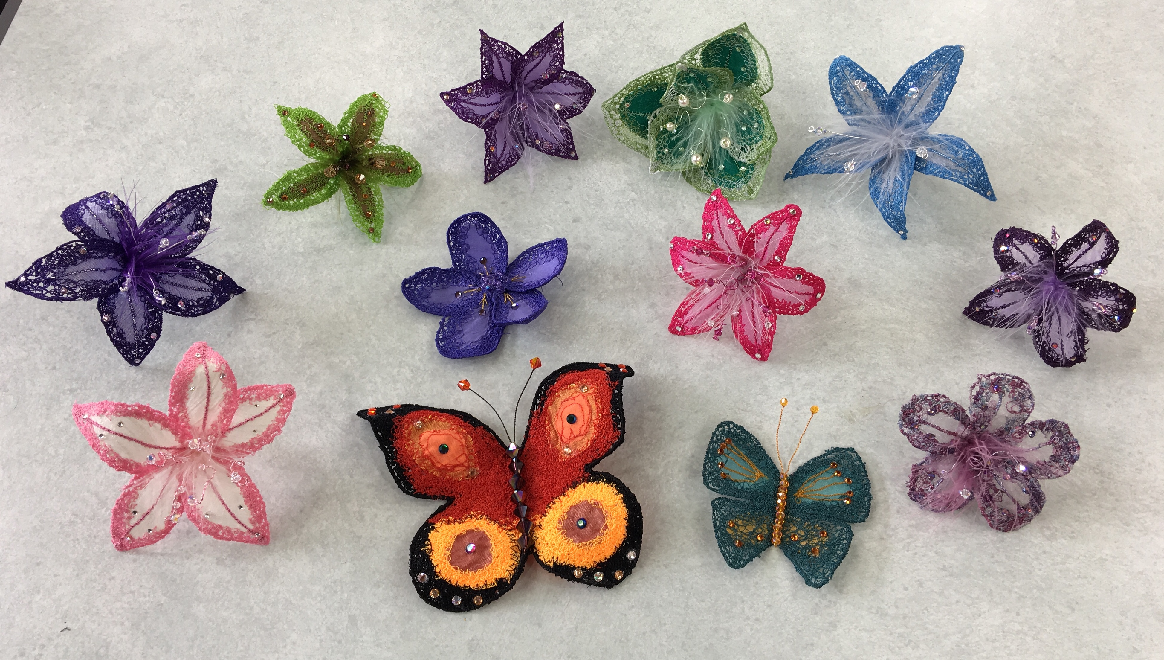 Sewing on Soluble Fabric: Butterflies and Flower : Claire Muir