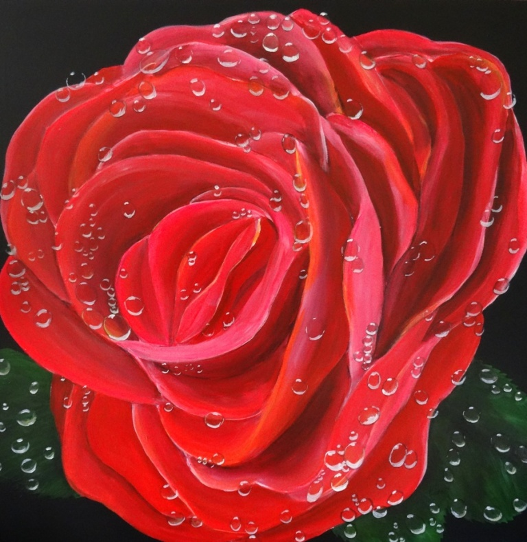 Acrylic Art on Canvas: Paint a Rose and Dewdrops : Karen Jones