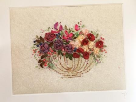Ribbon Embroidery: A Flower Filled String Basket : Marilyn Pipe