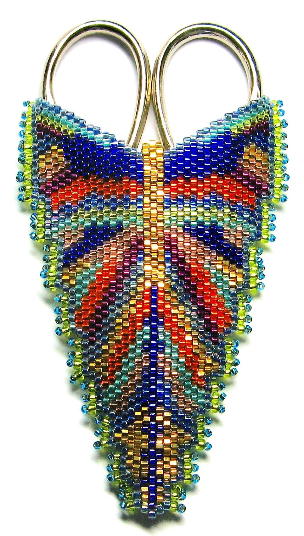 A Beadwoven Butterfly Scissor Case or Pendant - 2 Night : Sally Boehme
